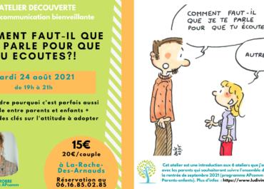 Ateliers sur les relations parents-enfants, à La-Roche-Des-Arnauds, le 24 août